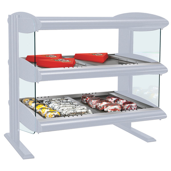 "Hatco HZMH-42D White Granite 42"" Horizontal Double Shelf Heated Zone Merchandiser - 120/208V"