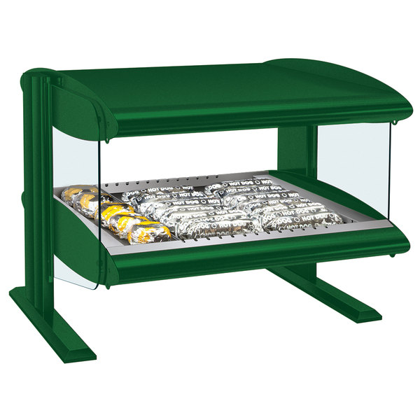 "Hatco HZMH-42 Hunter Green 42"" Horizontal Single Shelf Heated Zone Merchandiser - 120V"