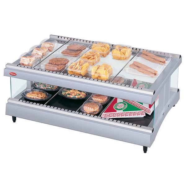 "Hatco GR3SDH-27 White Granite Glo-Ray 27"" Horizontal Single Shelf Heated Glass Merchandising Warmer - 120V"