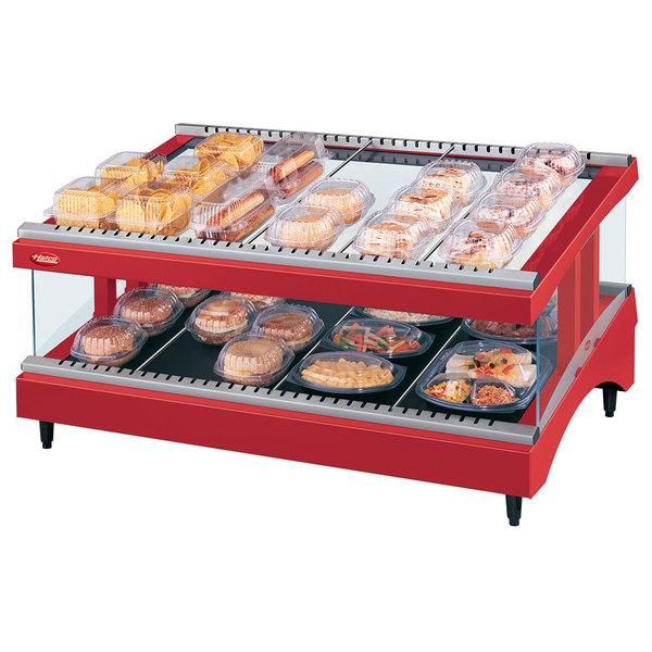 "Hatco GR3SDS-33 Warm Red Glo-Ray 33"" Slanted Single Shelf Heated Glass Merchandising Warmer - 120V"