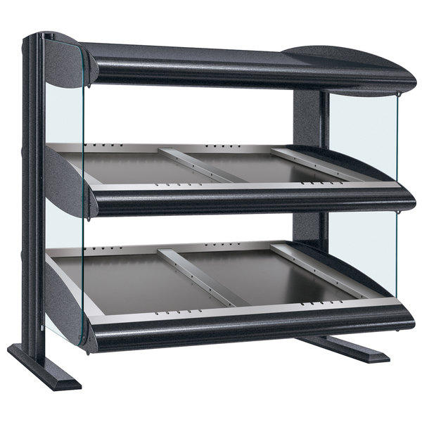"Hatco HZMS-60D Gray Granite 60"" Slanted Double Shelf Heated Zone Merchandiser - 120/208V"