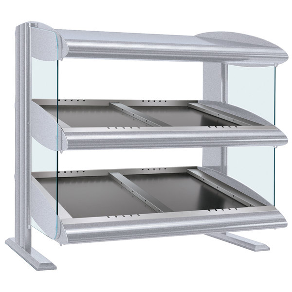 "Hatco HZMS-48D White Granite 48"" Slanted Double Shelf Heated Zone Merchandiser - 120/240V"