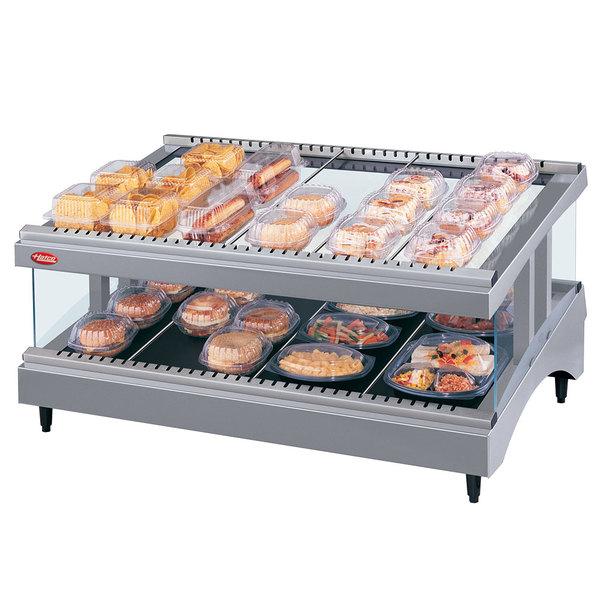 "Hatco GR3SDS-33 Gray Granite Glo-Ray 33"" Slanted Single Shelf Heated Glass Merchandising Warmer - 120V"