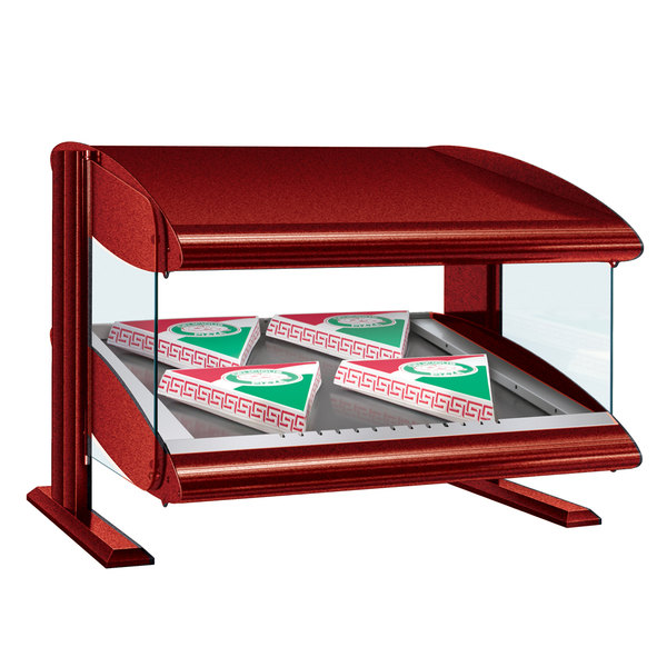 "Hatco HZMS-48 Warm Red 48"" Slanted Single Shelf Heated Zone Merchandiser - 120V"