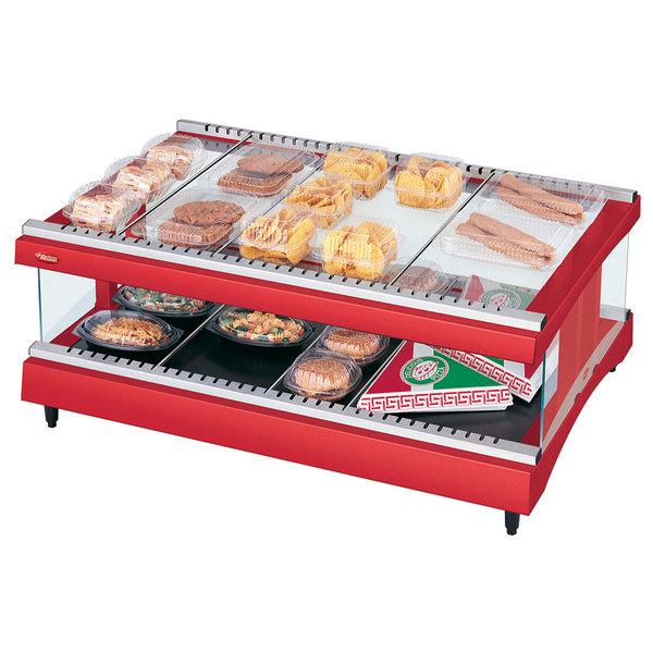 "Hatco GR3SDH-33 Warm Red Glo-Ray 33"" Horizontal Single Shelf Heated Glass Merchandising Warmer - 120V"