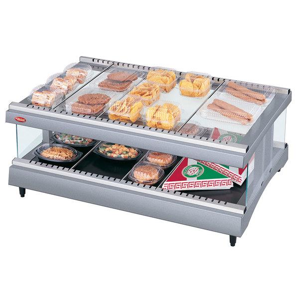"Hatco GR3SDH-27 Gray Granite Glo-Ray 27"" Horizontal Single Shelf Heated Glass Merchandising Warmer - 120V"