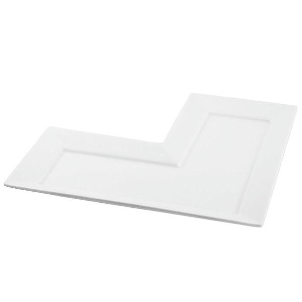 """10 Strawberry Street WTR-10LPLT Whittier 10 1/4"""" White Porcelain L Plate - 18/Case"""