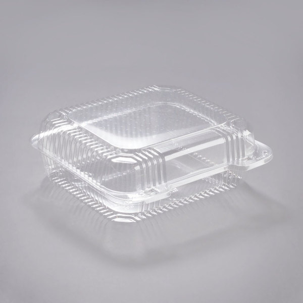 Dart PET51UT1 StayLock 8 1/4 inch x 7 3/4 inch x 3 inch Clear Hinged PET Plastic Medium Container - 250/Case