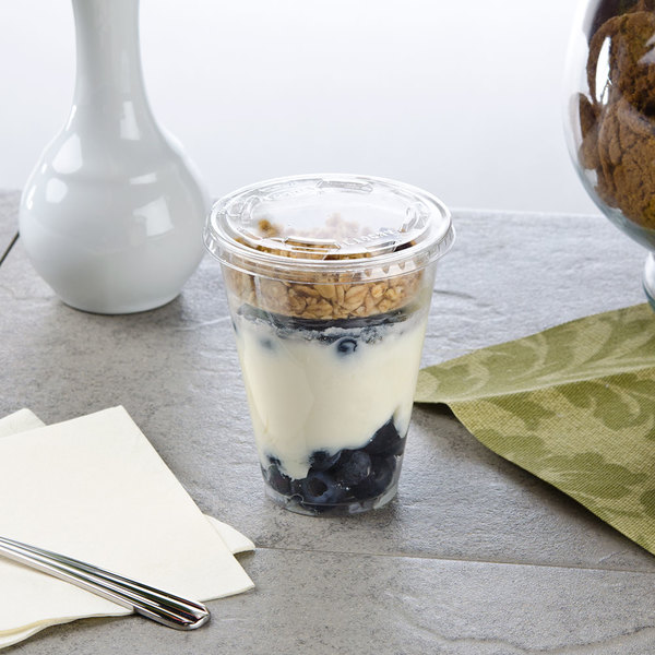 Narrow 9 oz. Parfait Cup with 2 oz. Fabri-Kal Insert and Flat Lid - 100/Pack Main Image 3