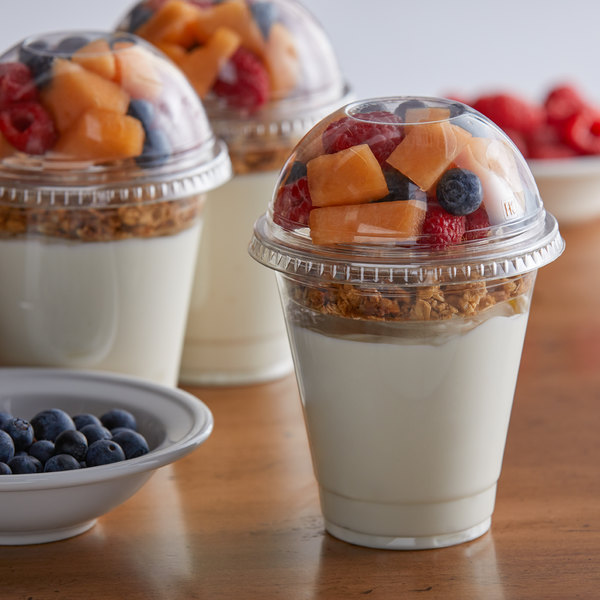 12 oz. Parfait Cup with 4 oz. Fabri-Kal Insert, Flat Lid, and Dome Lid - 100/Pack Main Image 3