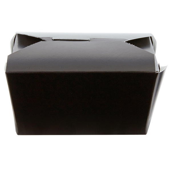 Bio-Pak 01BPBLACKM 5 inch x 4 inch x 3 inch Black Paper #1 Microwavable Take-Out Container - 450/Case