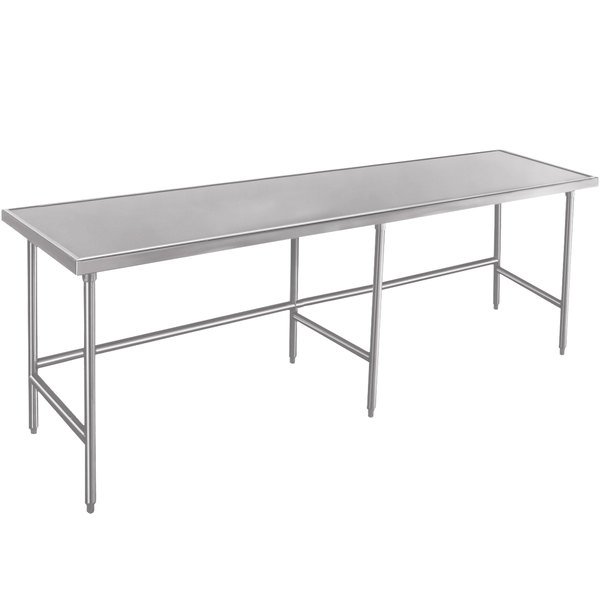"""Advance Tabco Spec Line TVLG-489 48"""" x 108"""" 14 Gauge Open Base Stainless Steel Commercial Work Table"""