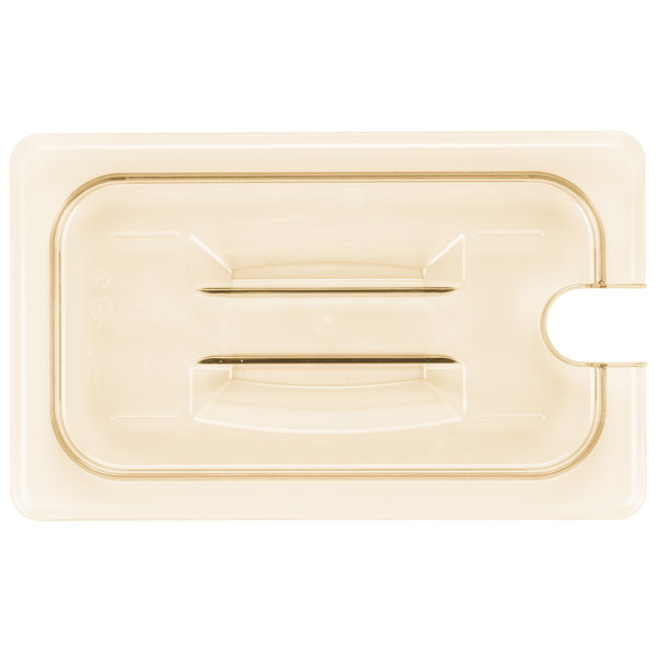 Cambro 40HPCHN150 H-Pan™ 1/4 Size Amber High Heat Handled Flat Lid with Spoon Notch