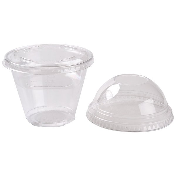 Squat 9 oz. Parfait Cup with 4 oz. Fabri-Kal Insert, Flat Lid and Dome Lid - 100/Pack Main Image 1