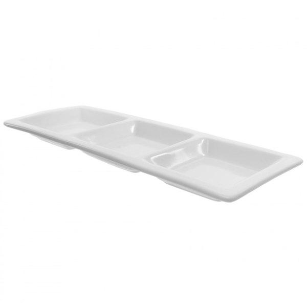 "10 Strawberry Street WTR-SM3PKT Whittier 15 1/2"" x 6 1/8"" White Porcelain Small 3-Pocket Tray - 18/Case"