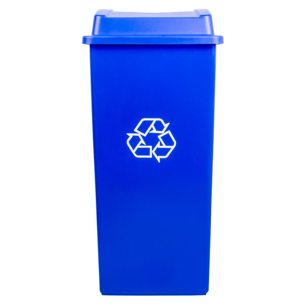 Continental Swingline 32 Gallon Blue Square Recycling Trash Can and Lid with Hole Set Main Image 1