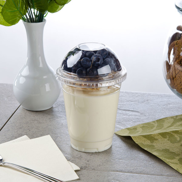 12 oz. Parfait Cup with 2 oz. Fabri-Kal Insert, Flat Lid and Dome Lid - 100/Pack Main Image 3