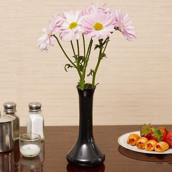 """7 1/2"""" Black Plastic Bud Vase - 6/Pack Main Image 2"""