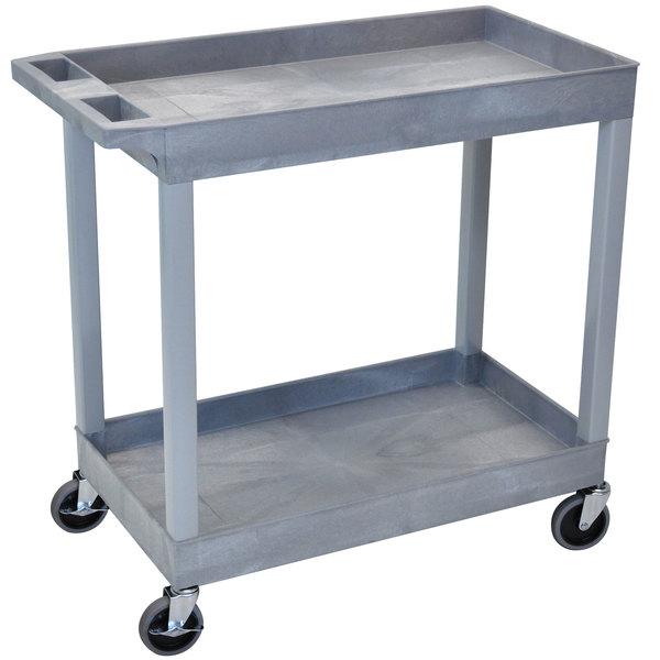 "Luxor EC11-G Gray Two Tub Shelf Utility Cart - 18"" x 35 1/4"" x 34 1/4"" Main Image 1"