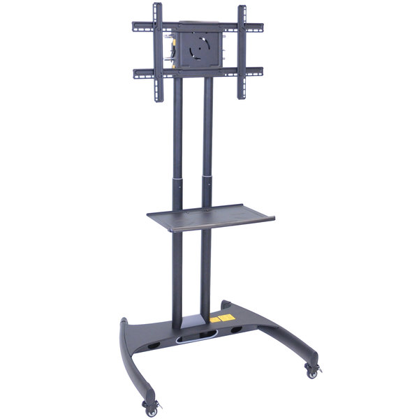 "Luxor FP2500 Adjustable Height TV Cart with Shelf for 40"" to 60"" Screens"