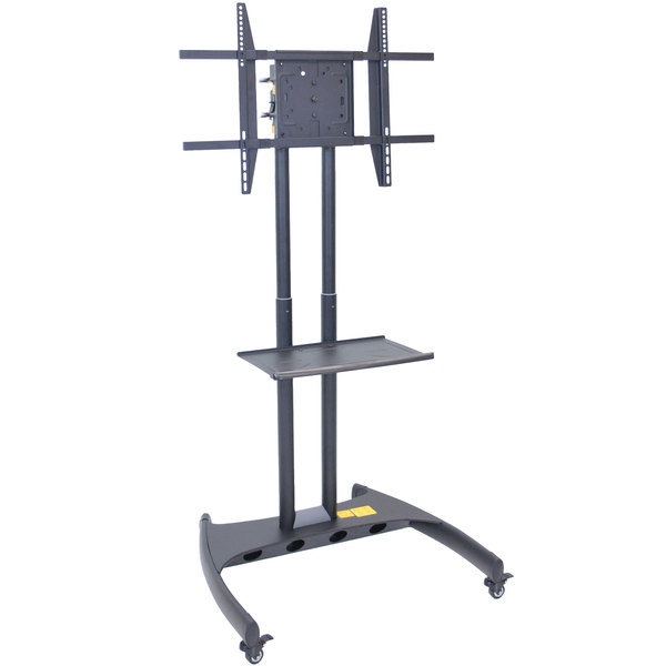 "Luxor FP3500 Adjustable Height TV Cart with Shelf and Rotating Mount for 32"" to 60"" Screens"