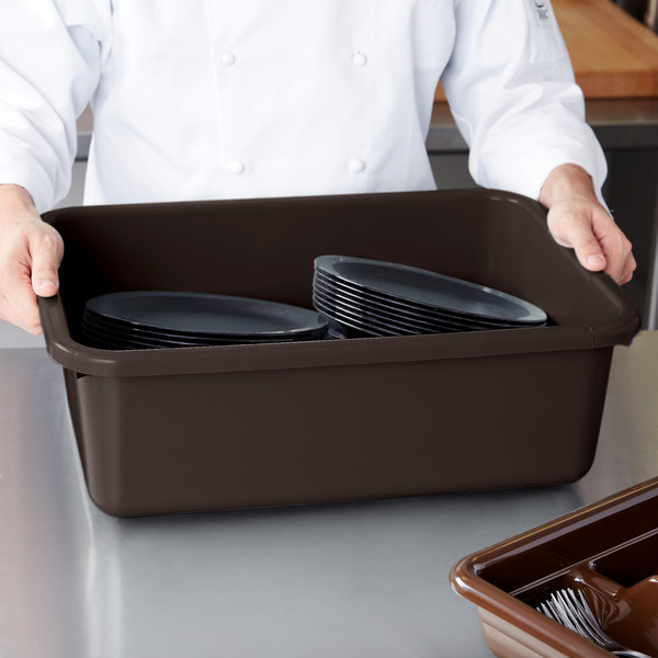"Cambro 21157CBP131 Poly Cambox 21"" x 15"" x 7"" Dark Brown Polyethylene Bus Tub with Ribbed Bottom Main Image 7"