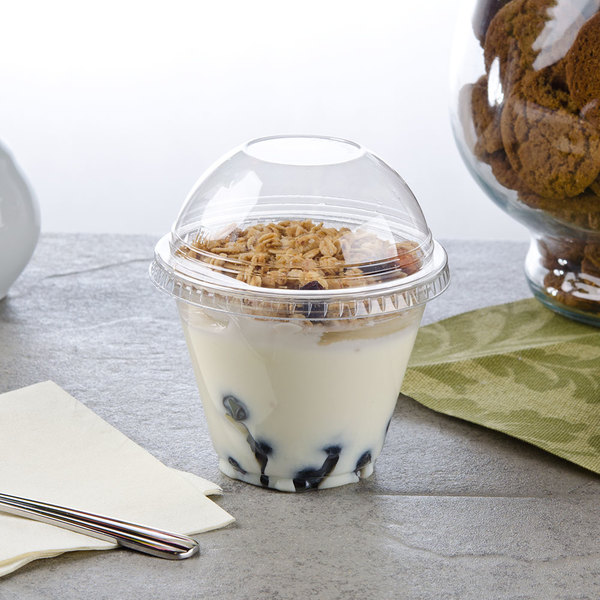 Squat 9 oz. Parfait Cup with 2 oz. Fabri-Kal Insert and Dome Lid - 100/Pack Main Image 3