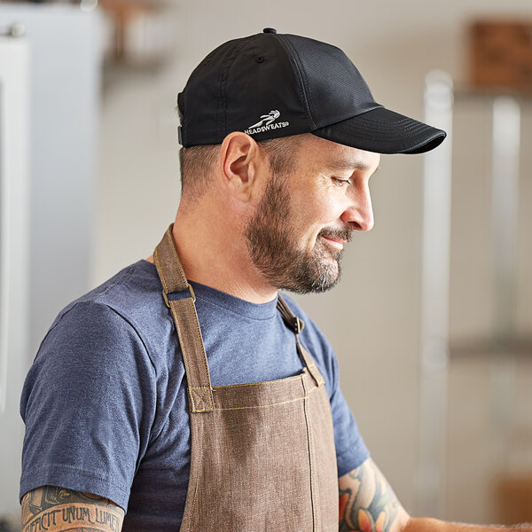 Headsweats Black Colored 5-Panel Chef Cap with Eventure Fabric and Terry Sweatband Main Image 3