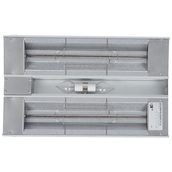 """Hatco GRAL-24D Glo-Ray 24"""" Aluminum Dual Infrared Lighted Warmer with 6"""" Spacer and Toggle Controls - 120/240V, 820W"""