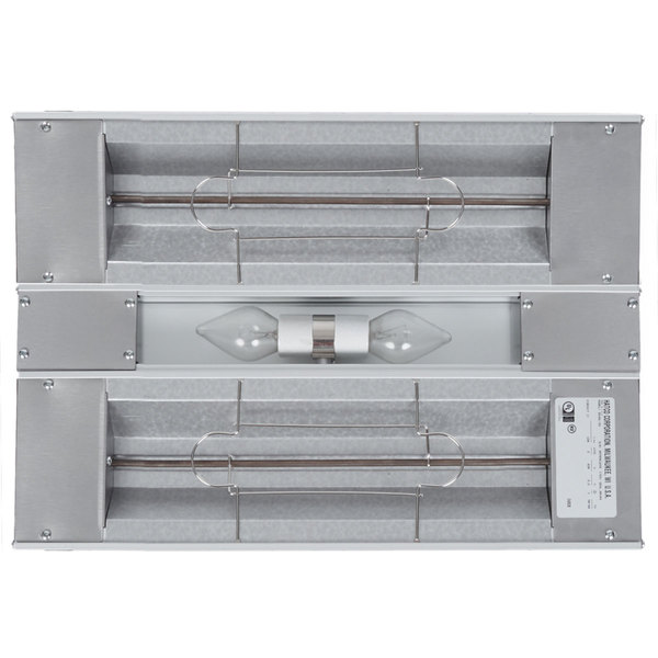 "Hatco GRAL-18D Glo-Ray 18"" Aluminum Dual Infrared Lighted Warmer with 6"" Spacer and Toggle Controls - 120V, 620W"