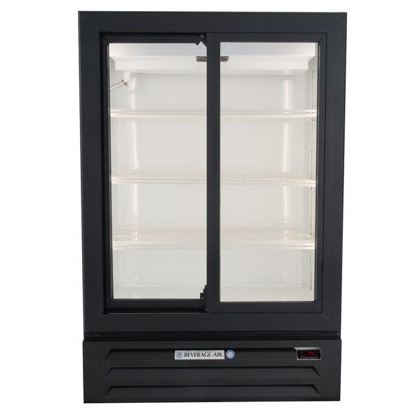 "Beverage-Air LV15HC-1-B 36"" Black Lumavue Refrigerated Sliding Glass Door Merchandiser Main Image 1"
