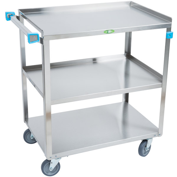 Easily Transport A Variety Of Supplies With This Lakeside 422 Medium Duty 3  Shelf Stainless Steel Utility Cart.