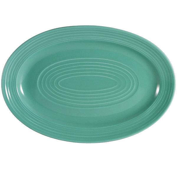 "CAC TG-12-G Tango 10 5/8"" x 7 3/4"" Green Oval Platter - 24/Case"