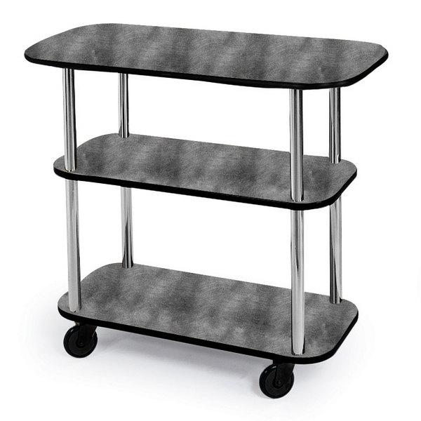 """Geneva 36100-07 Rectangular 3 Shelf Laminate Tableside Service Cart with Pewter Brush Finish - 16"""" x 42 3/8"""" x 35 1/4"""" Main Image 1"""