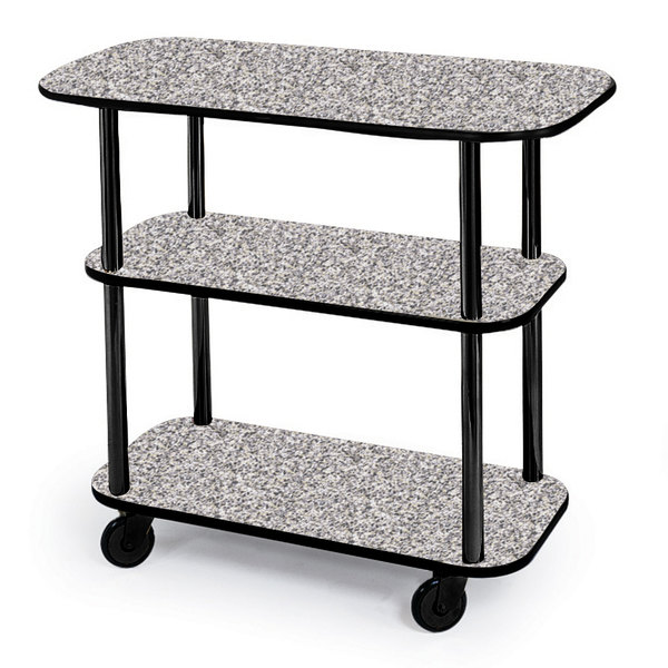 "Geneva 36100-01 Rectangular 3 Shelf Laminate Tableside Service Cart with Gray Sand Finish - 16"" x 42 3/8"" x 35 1/4"""