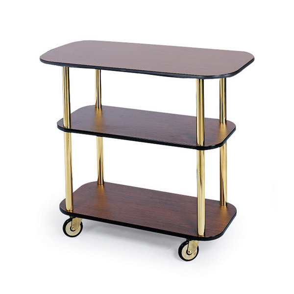 "Geneva 36100 Rectangular 3 Shelf Laminate Tableside Service Cart with Victorian Cherry Finish - 16"" x 42 3/8"" x 35 1/4"""