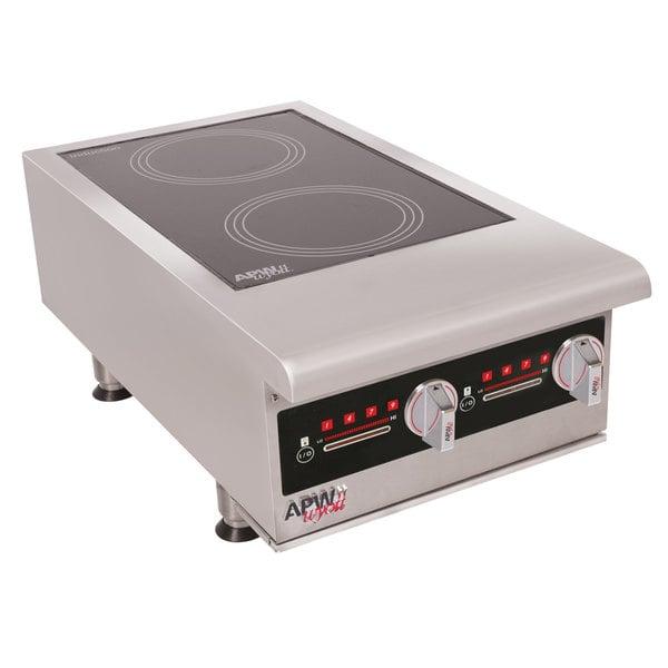 APW Wyott IHP-2 Workline Dual Hob Countertop Hot Plate Induction Range - 7000W, 3 Phase Main Image 1