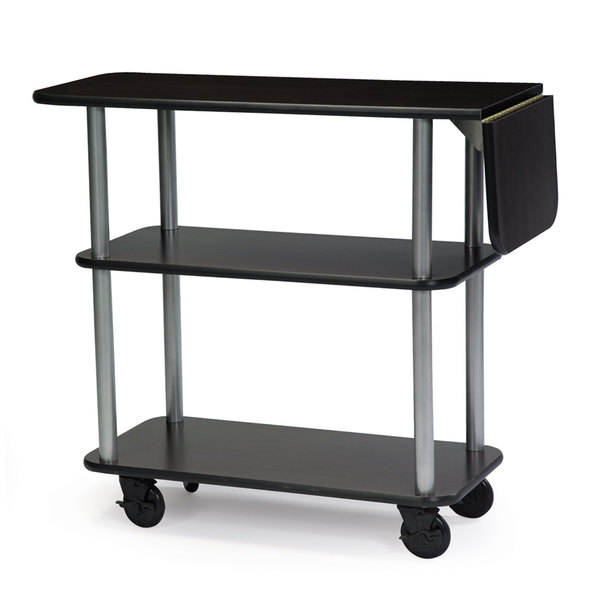 "Geneva 36102-05 Rectangular 3 Shelf Laminate Tableside Service Cart with 10"" Drop Leaf and Black Finish - 16"" x 48"" x 35 1/4 Main Image 1"