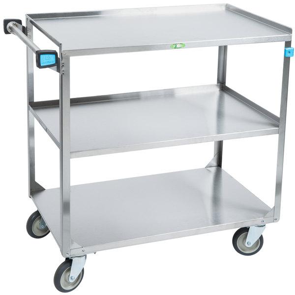 Lakeside 444 Medium Duty Stainless Steel 3 Shelf Utility Cart - 22 3/8\