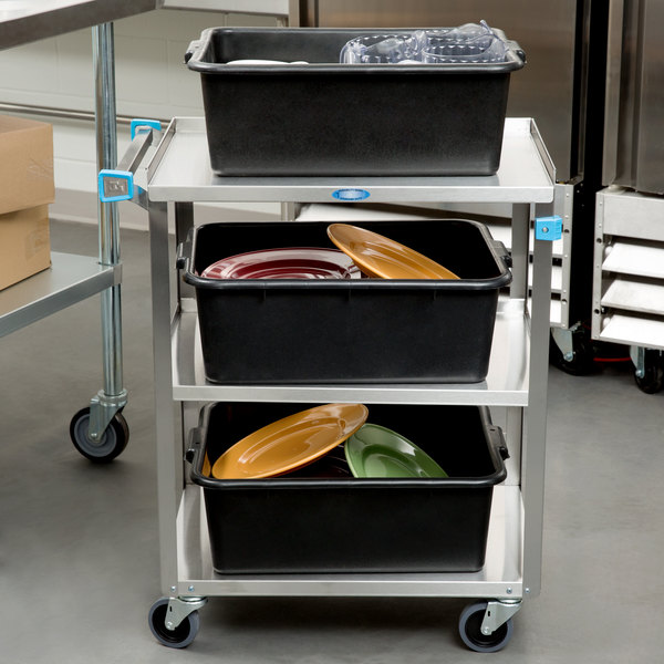 "Lakeside 311 Standard Duty Stainless Steel 3 Shelf Utility Cart - 16 1/4"" x 27 1/2"" x 32 1/8"" Main Image 3"
