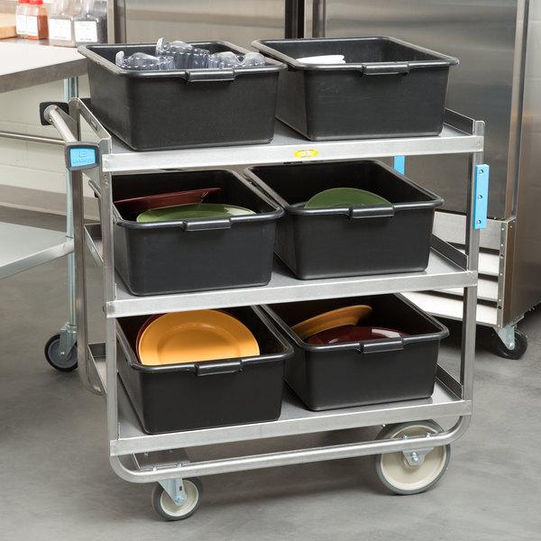"Lakeside 744 Heavy Duty Stainless Steel 3 Shelf Utility Cart - 22 3/8"" x 38 5/8"" x 37 1/8"" Main Image 3"