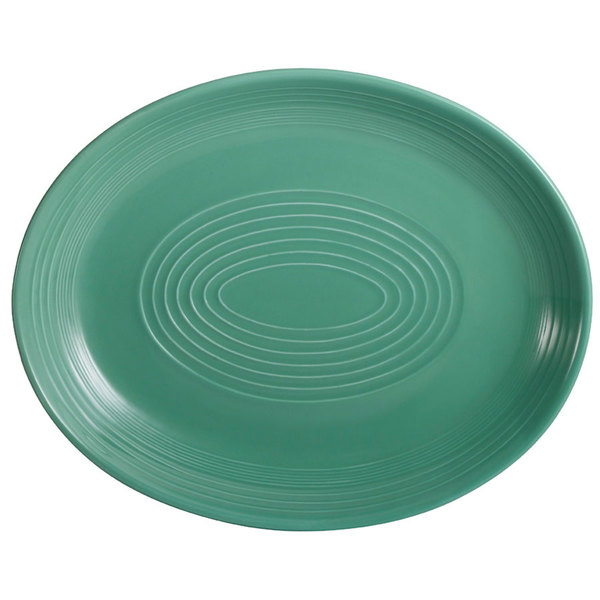 """CAC TG-13C-G Tango 11 1/2"""" x 9 1/4"""" Green Coupe Oval Platter - 12/Case"""