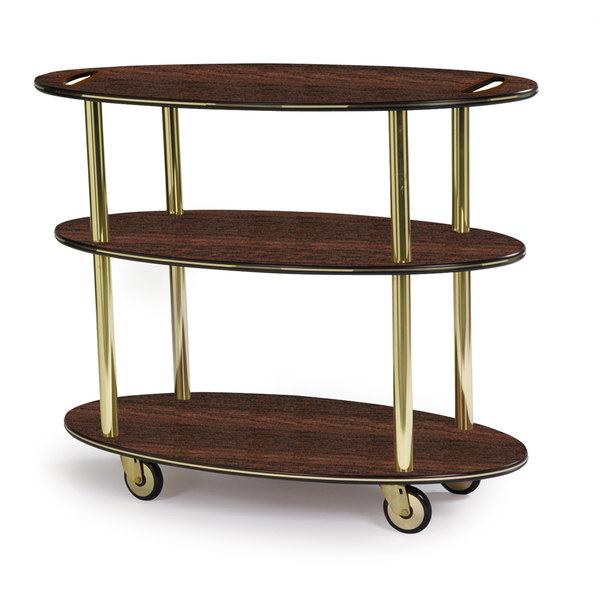 "Geneva 36304-11 Oval 3 Shelf Laminate Table Side Service Cart with Handle Cutouts and Mahogany Finish - 23"" x 44"" x 35 1/4"