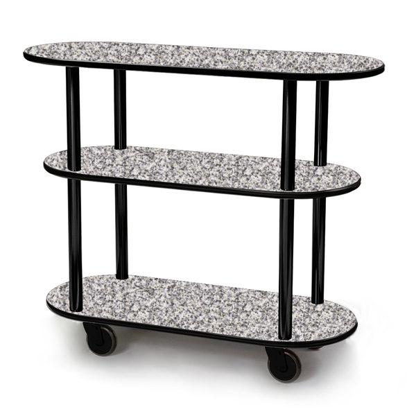 "Geneva 36200-01 Oval 3 Shelf Laminate Table Side Service Cart with Gray Sand Finish - 16"" x 42 3/8"" x 35 1/4"""
