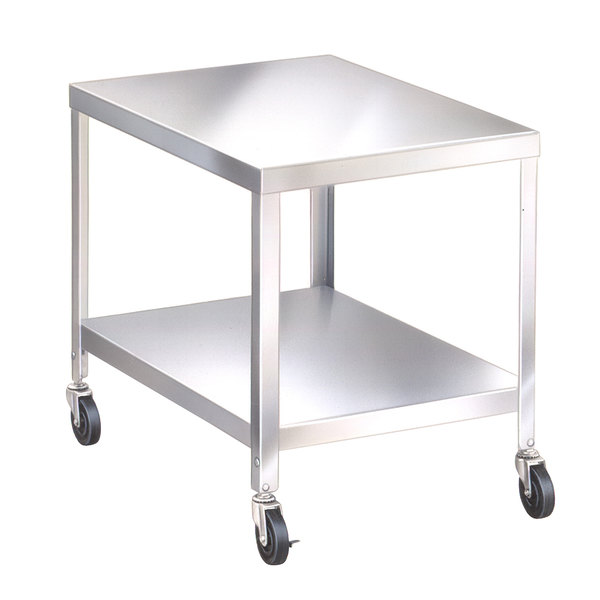 """Lakeside 516 25 1/4"""" x 21 1/4"""" x 29 3/16"""" Stainless Steel 2 Shelf Mobile NSF Equipment Stand"""