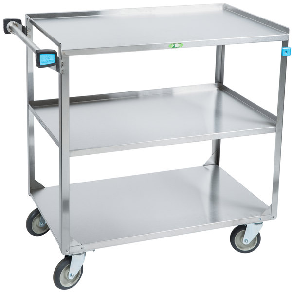 "Lakeside 459 Medium Duty Stainless Steel 3 Shelf Utility Cart - 22 3/8"" x 54 1/8"" x 37 1/4"" Main Image 1"