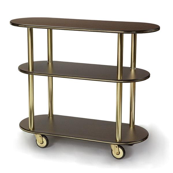 """Geneva 36200 Oval 3 Shelf Laminate Table Side Service Cart with Mahogany Finish - 16"""" x 42 3/8"""" x 35 1/4"""""""