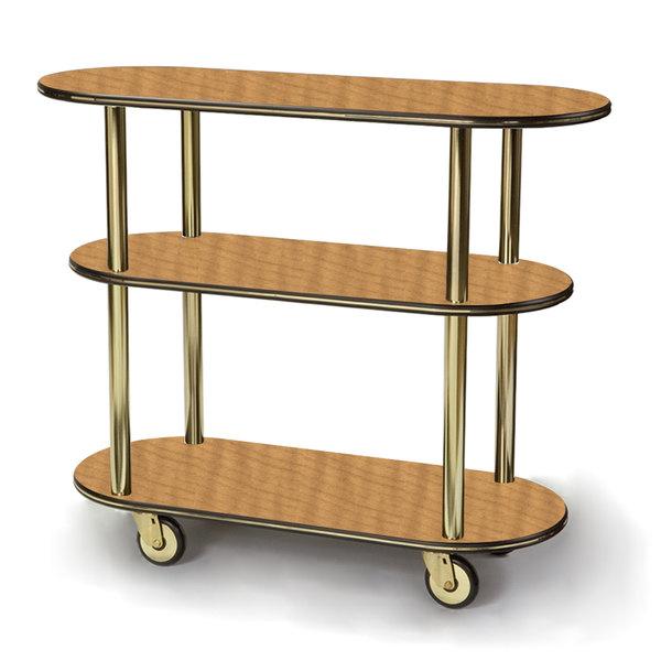 "Geneva 36200 Oval 3 Shelf Laminate Table Side Service Cart with Amber Maple Finish - 16"" x 42 3/8"" x 35 1/4"""