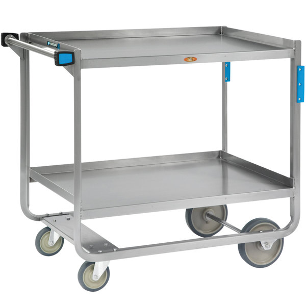 "Lakeside 949 Extra Heavy Duty Stainless Steel 2 Shelf Utility Cart - 22 3/4"" x 39"" x 37 3/8"" Main Image 1"