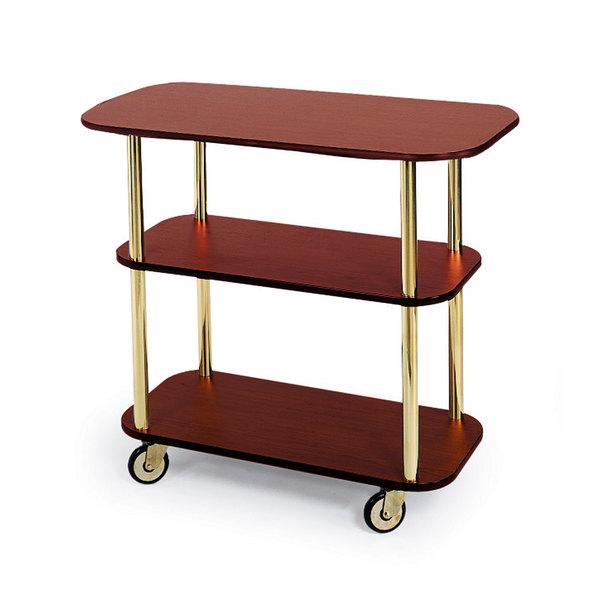 "Geneva 36100 Rectangular 3 Shelf Laminate Tableside Service Cart with Red Maple Finish - 16"" x 42 3/8"" x 35 1/4"""